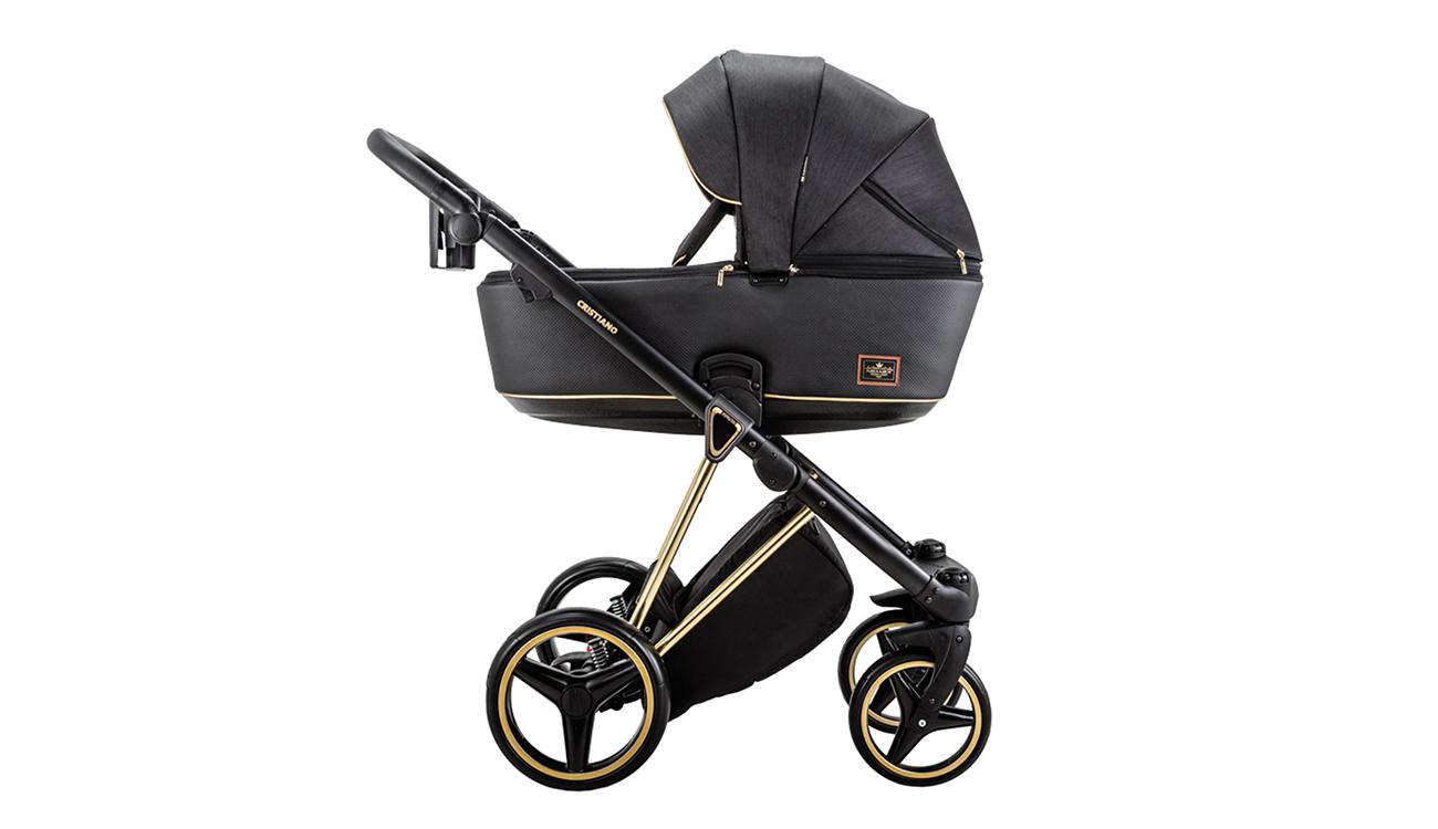 Wózek wielofunkcyjny Adamex Cristiano SE 2w1 Czarno-złoty