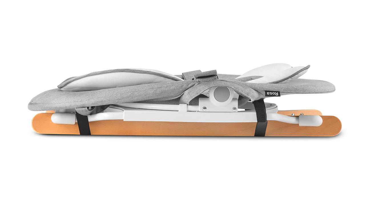 Bujaczek z drewnianymi płozami Lionelo Rosa - szary z białą ramą