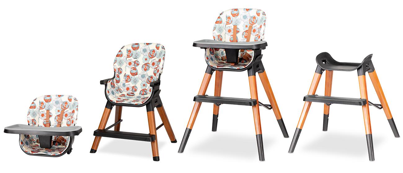 Krzesełko drewniane do karmienia 4w1 Lionelo Mona Flower