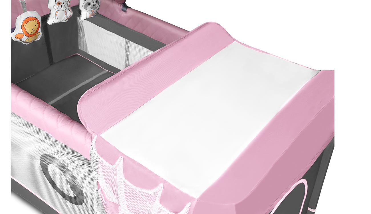 Łóżeczko turystyczne dwupoziomowe Lionelo FLower Flamingo