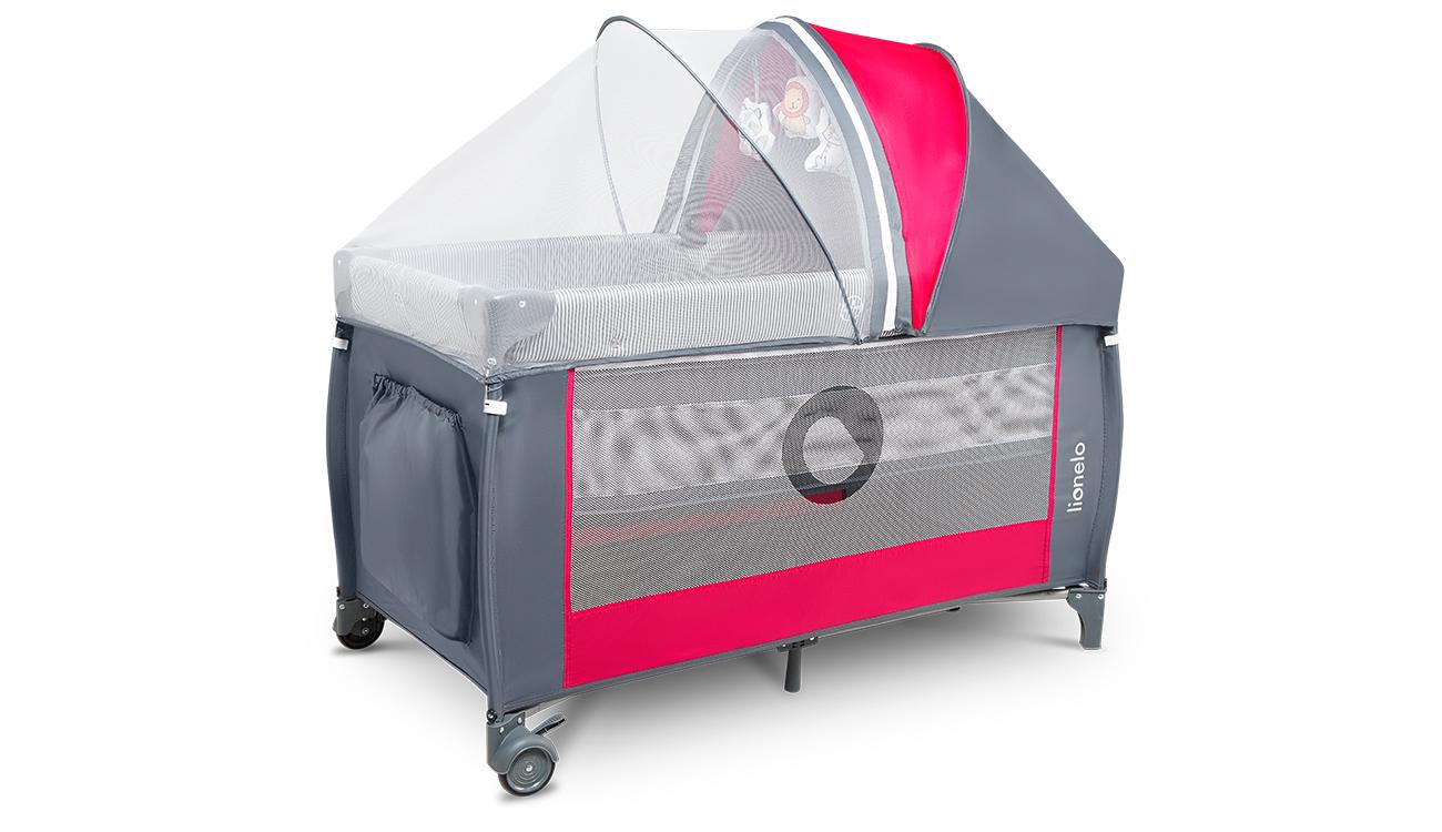 Łóżeczko turystyczne dwupoziomowe Lionelo Sven Plus Pink Rose