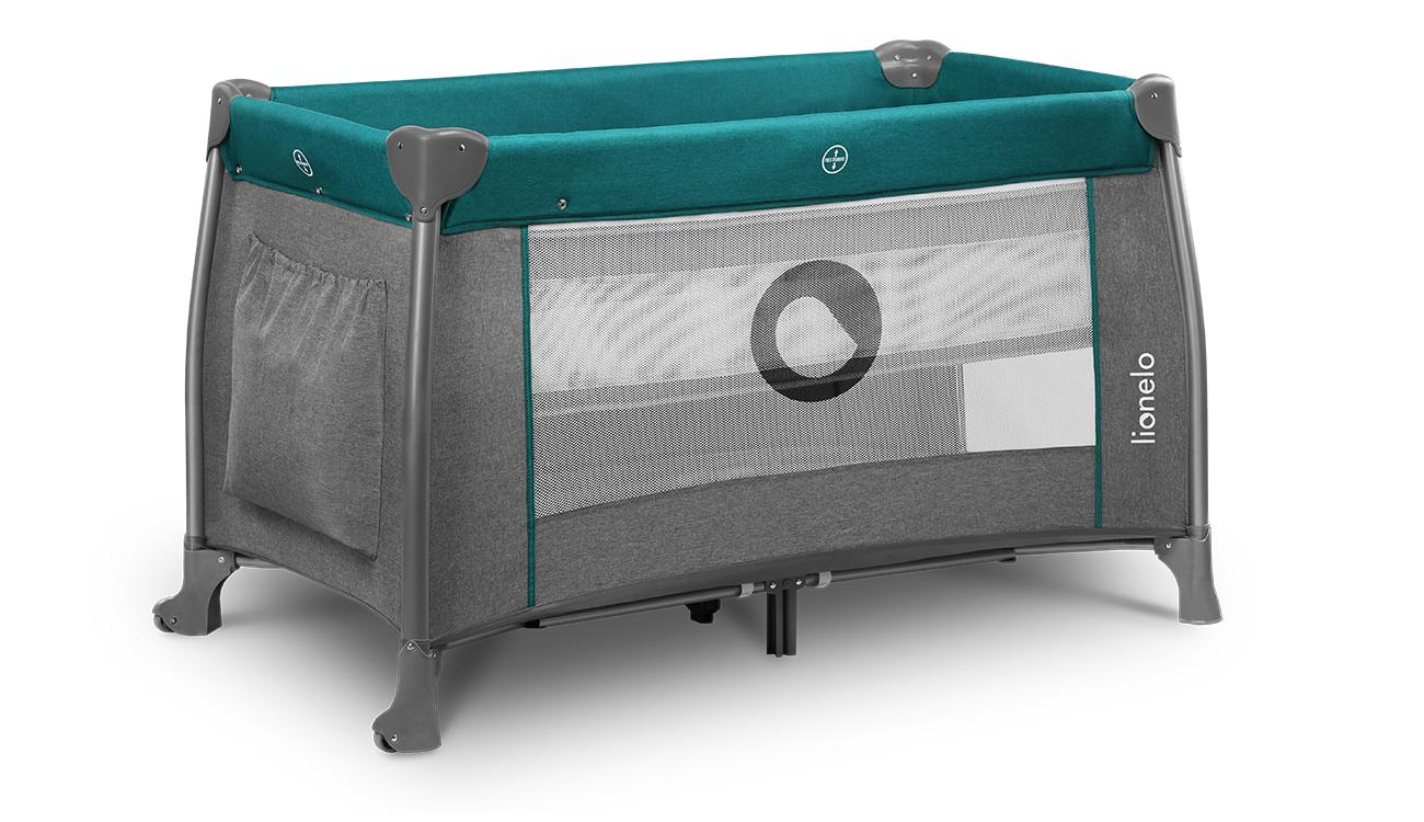 Łóżeczko turystyczne dwupoziomowe Lionelo Thomi Green Turquoise