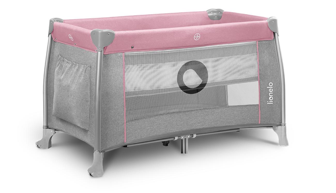 Łóżeczko turystyczne dwupoziomowe Lionelo Thomi Pink Baby