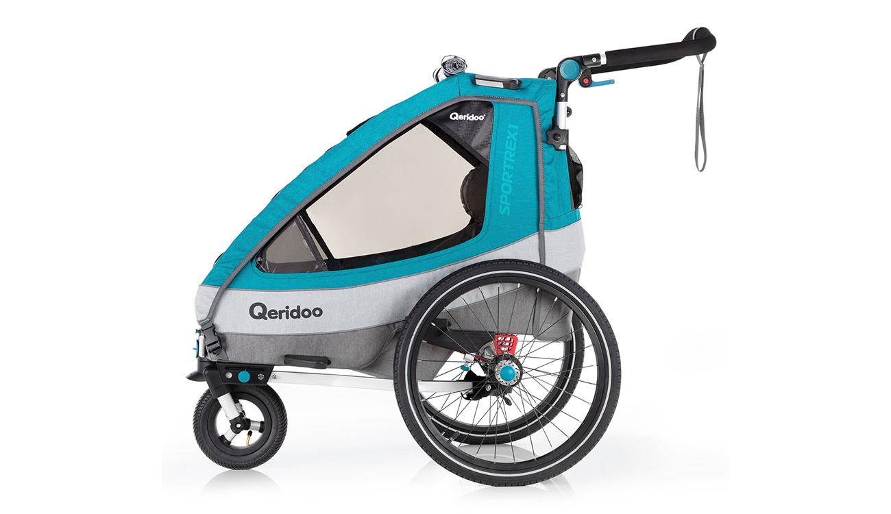 Koła i amortyzacja przyczepki rowerowej Qeridoo Sportrex1 2020 Petrol